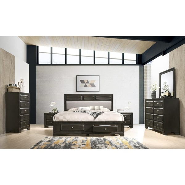 Oakland Antique Gray Finish Wood 6-PC Queen Size Bedroom Set