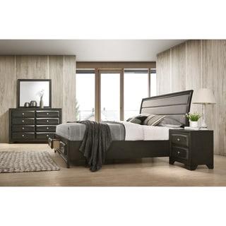 Asger Antique Gray Finish Wood 4-PC Upholstered King Bedroom Set