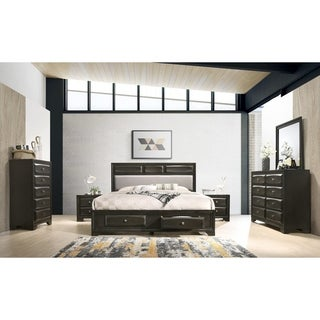 Oakland Antique Gray Finish Wood 6-PC King Size Bedroom Set