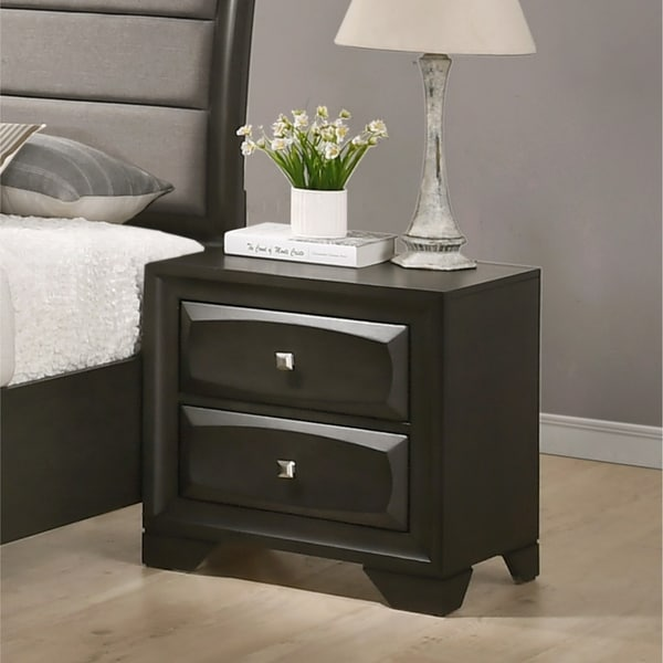 Oakland Antique Gray Finish Wood 2 Drawers Nightstand