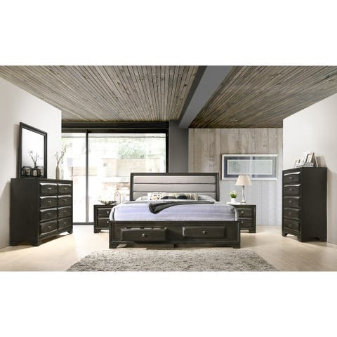 Asger Antique Gray Finish Wood 6-PC Upholstered King Bedroom Set