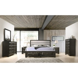 Asger Antique Grey Wood 6-piece Upholstered King Bedroom Set
