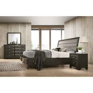 Asger Antique Gray Finish Wood 4-PC Upholstered Queen Bedroom Set