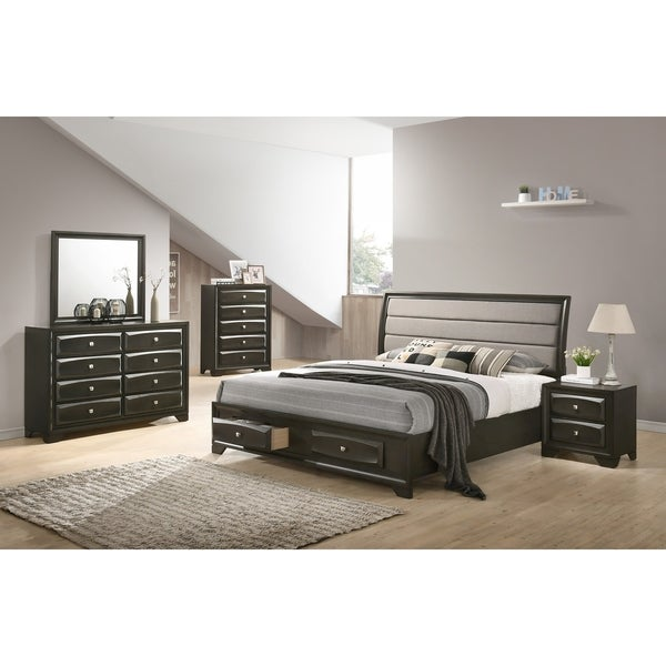 Asger Antique Gray Finish Wood 5-PC Upholstered Queen Bedroom Set