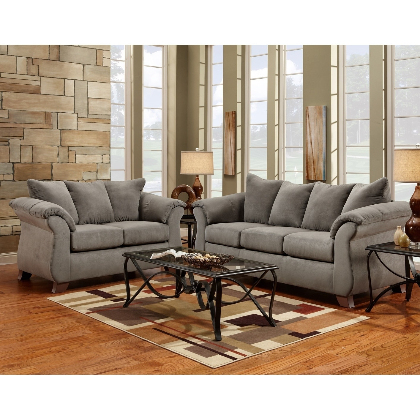 Picture of: Shop Aruca Sensations Grey Microfiber Pillow Back Sofa And Loveseat Set On Sale Overstock 20256380