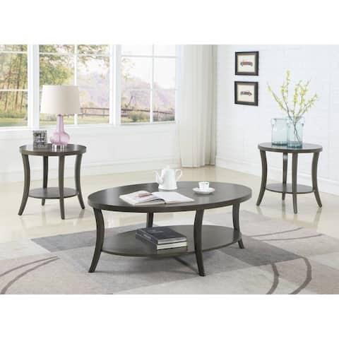 Perth Contemporary Oval Shelf Coffee Table Set, Gray