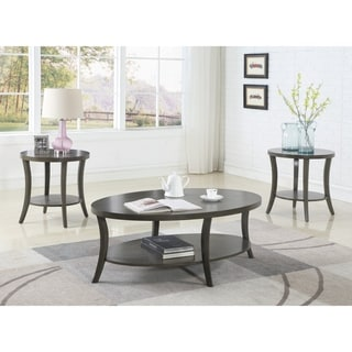 Link to Perth Contemporary Oval Shelf Coffee Table Set, Gray Similar Items in Living Room Furniture