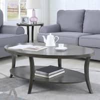 Perth Contemporary Oval Shelf Coffee Table, Gray
