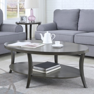 Link to Perth Contemporary Oval Shelf Coffee Table, Gray Similar Items in Living Room Furniture
