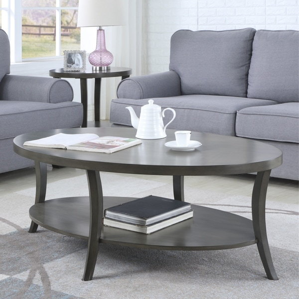Glass Coffee Tables Perth: Shop Perth Contemporary Oval Shelf Coffee Table, Gray