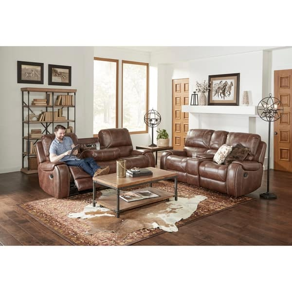 Pleasant Shop Achern Brown Leather Air Nailhead Manual Reclining Sofa Gmtry Best Dining Table And Chair Ideas Images Gmtryco