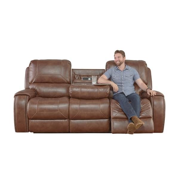 Wondrous Shop Achern Brown Leather Air Nailhead Manual Reclining Sofa Bralicious Painted Fabric Chair Ideas Braliciousco