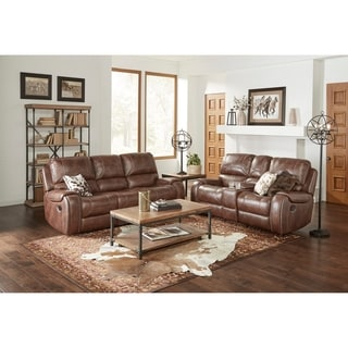 Achern Brown Leather-Air Nailhead Manual Reclining Sofa and Loveseat