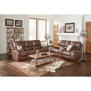 Achern Brown Leather-Air Nailhead Manual Reclining Sofa and Loveseat