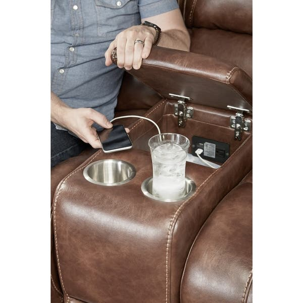 Phenomenal Shop Achern Brown Leather Air Nailhead Manual Reclining Sofa Gmtry Best Dining Table And Chair Ideas Images Gmtryco