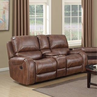 Achern Brown Leather-Air Nailhead Manual Reclining Loveseat