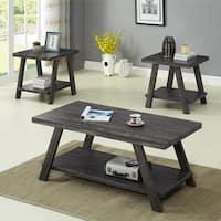 Athens Contemporary Replicated Wood Shelf Coffee Set Table