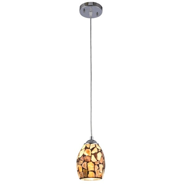 Chloe 1-light Chrome Plated/Stone Glass Pendant