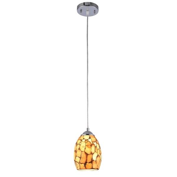 Chloe 1-light Chrome Plated/Stone Glass Pendant
