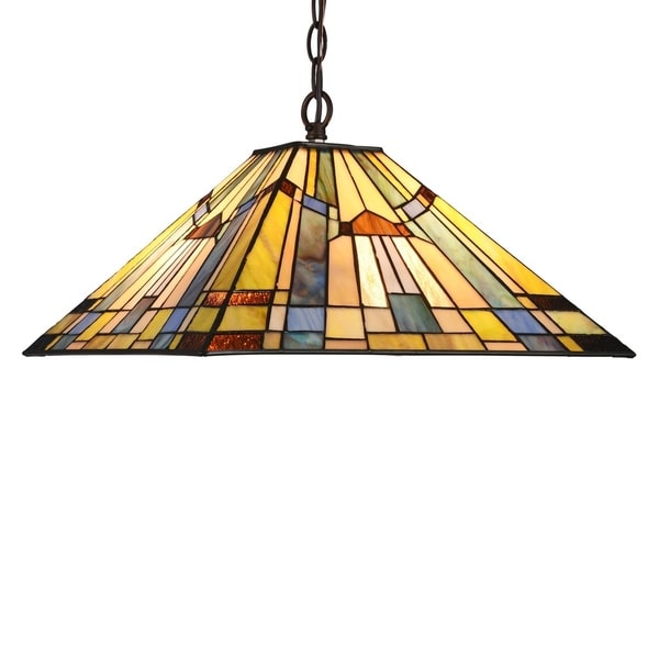 Chloe Tiffany Style 2-light Blackish Bronze/Art Glass Pendant