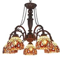 Chloe Tiffany Style 5-light Dark Bronze/Art Glass Chandelier