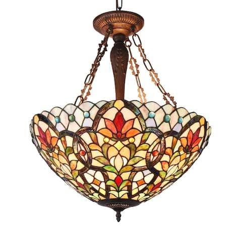 Tiffany Style 3-light Dark Antique Bronze/Art Glass Inverted Pendant