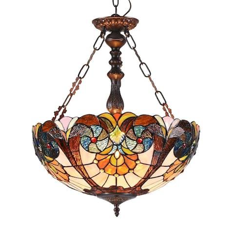 Tiffany Style 2-light Dark Bronze/Art Glass Inverted Pendant