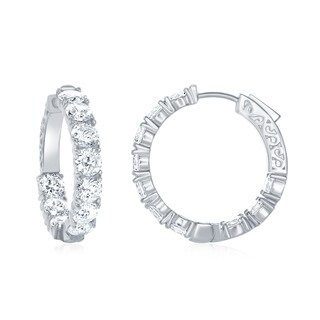 La Preciosa Sterling Silver, Rose Gold Plated, or Gold Plated High Polish Inside-Outside 28mm x 5mm Cubic Zirconia Hoop Earrings
