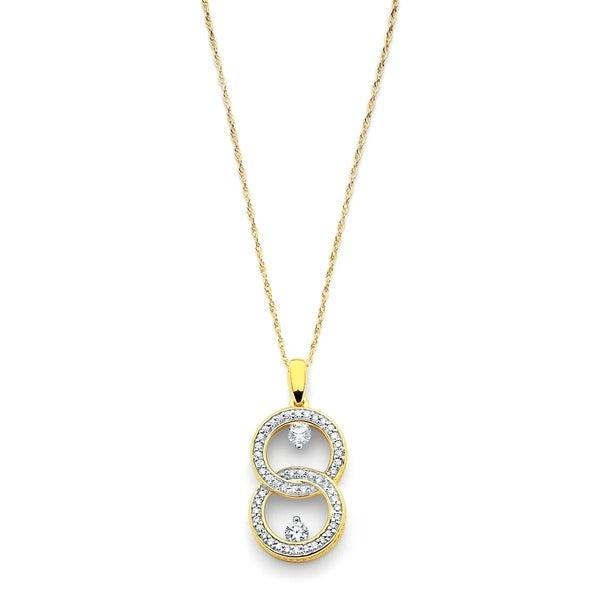 477ef8661d0a93 Shop 14k Yellow Gold .10 Cttw. Diamond 2 Stone Interlocking Love Pendant  Necklace with 18