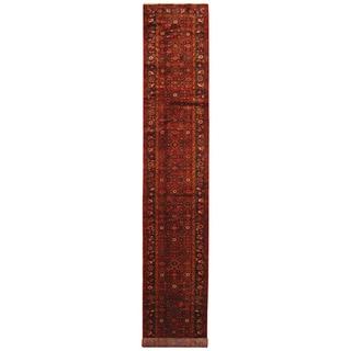 Handmade Herat Oriental Persian Hand-Knotted Tribal Hamadan Wool Runner (2'6 x 14'5)