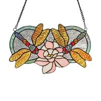 Chloe Tiffany Style Dragonfly Design Window Panel/Suncatcher