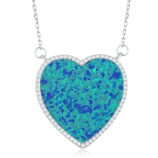 La Preciosa Sterling Silver or Rose Gold w/ White, Blue, or Pink Opal stone Heart with Cubic Zirconia Border 16+2'' Necklace