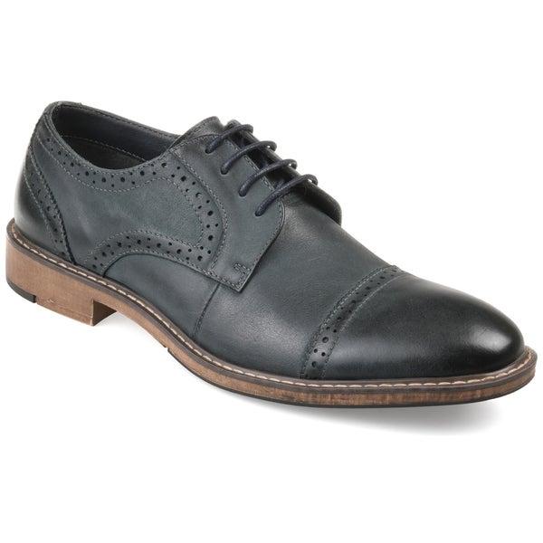 4af8d3557d5 Shop Vance Co. Men's 'Warren' Genuine Leather Cap-toe Brogue Dress ...