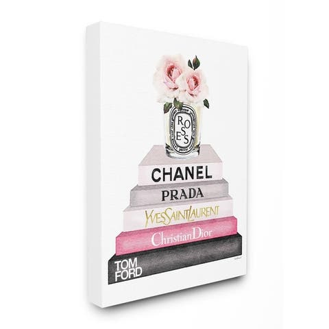 Stupell Industries Book Stack Fashion Candle Pink Rose Wall Art