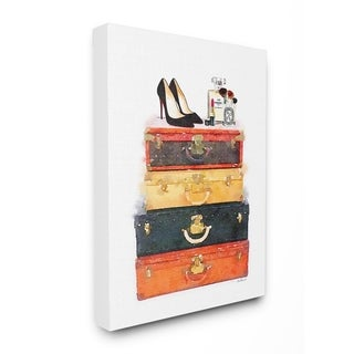 Stupell Industries Luggage Stack Shoes And Makeup Wall Art