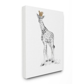 Stupell Industries Giraffe Royalty Graphite Drawing Wall Art