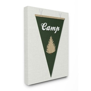 Stupell Industries Camp Pennant Fabric Collage Green Wall Art