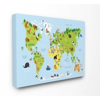 Stupell Industries World Map Cartoon And Colorful Wall Art