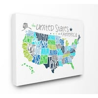 Stupell Industries United States Map Colored Wall Art