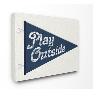 Stupell Industries Play Outside Pennant Blue Wall Art