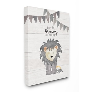 Stupell Industries You Are Braver Lion Wall Art
