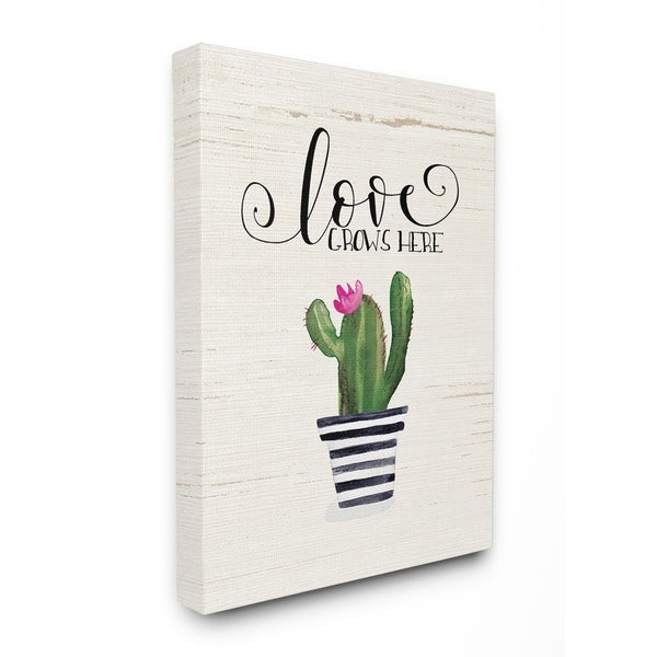 Shop Stupell Industries Love Grows Here Cactus Wall Art - On Sale ...