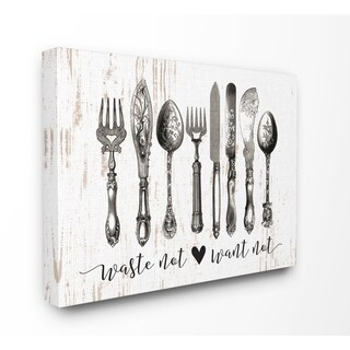 Stupell Industries Waste Not Want Not Silverware Wall Art