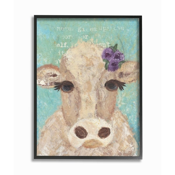 Shop Stupell Industries Cow Painterly Portrait Framed Giclee Wall ...