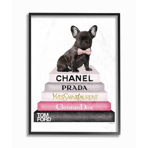 Stupell Industries Book Stack Fashion French Bulldog Framed Wall Art