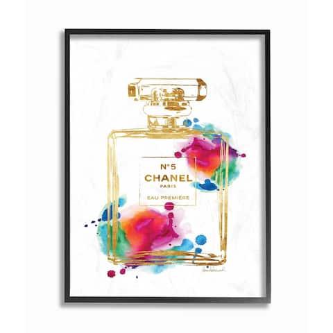 Stupell Industries Fashion Perfume Gold Rainbow Framed Giclee Wall Art