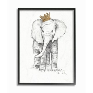 Stupell Industries Elephant Royalty Graphite Drawing Framed Wall Art
