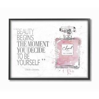 Stupell Industries Beauty Begins Fashion Perfume Framed Wall Art