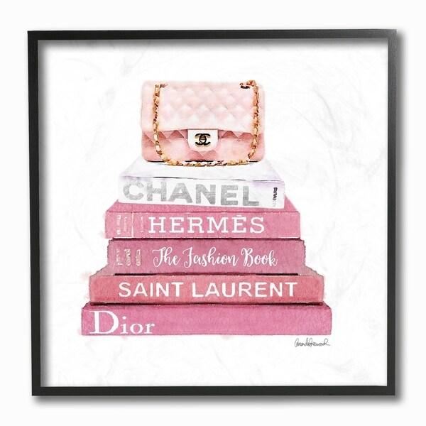 shop stupell industries pink book stack fashion handbag framed wall