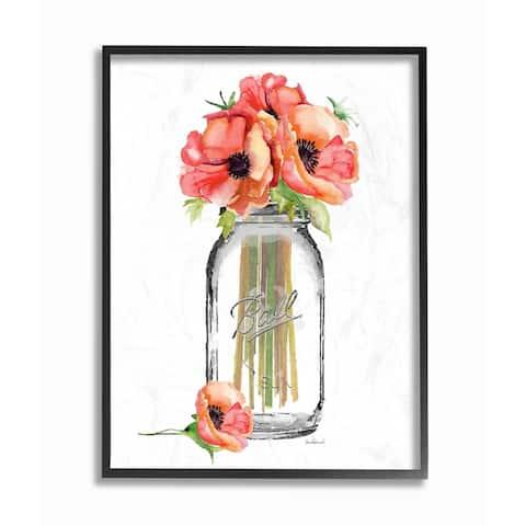 Stupell Industries Mason Jar Poppys Framed Giclee Wall Art